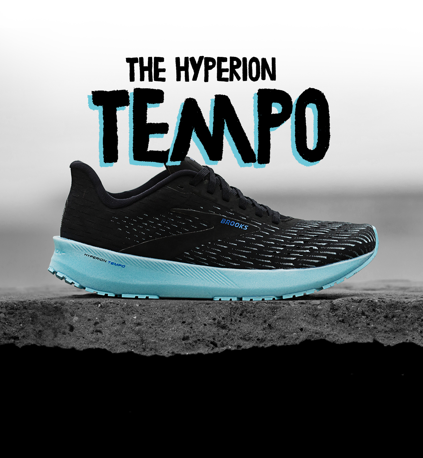 The Hyperion Elite in black and blue from the side; above the shoe, it reads 'The Hyperion Tempo'